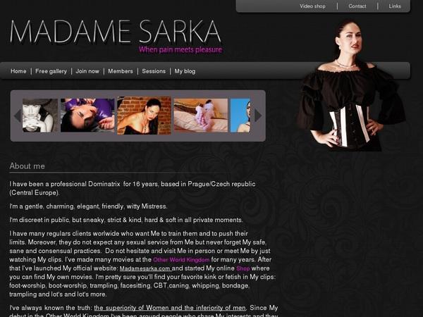 Madame Sarka Account Information